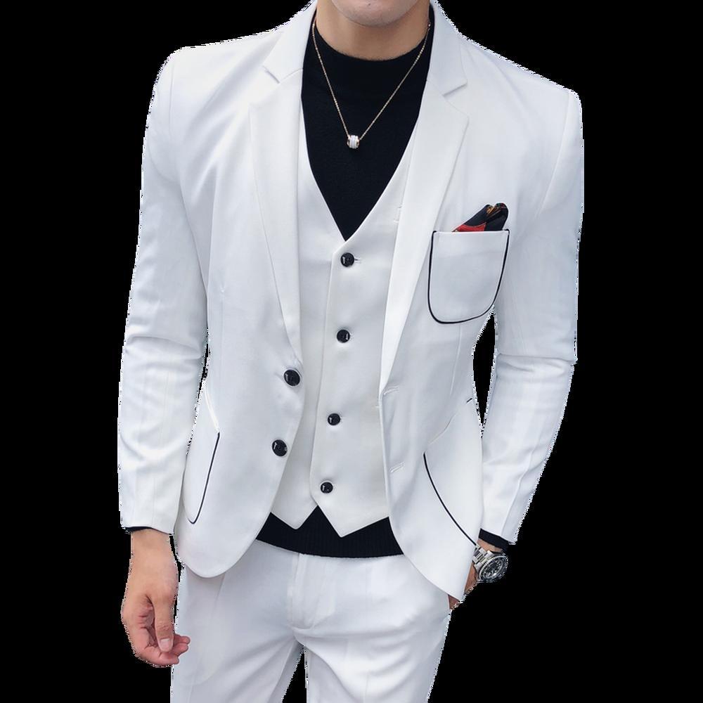 Compre 2018 Nuevo Negro Blanco Hombres Traje Chaqueta + Chaleco + Pantalones  Coreano Boda Masculina Joven Guapo Vestido Slim Fit Ropa Trajes De Moda A  ... 18bae5d49aad