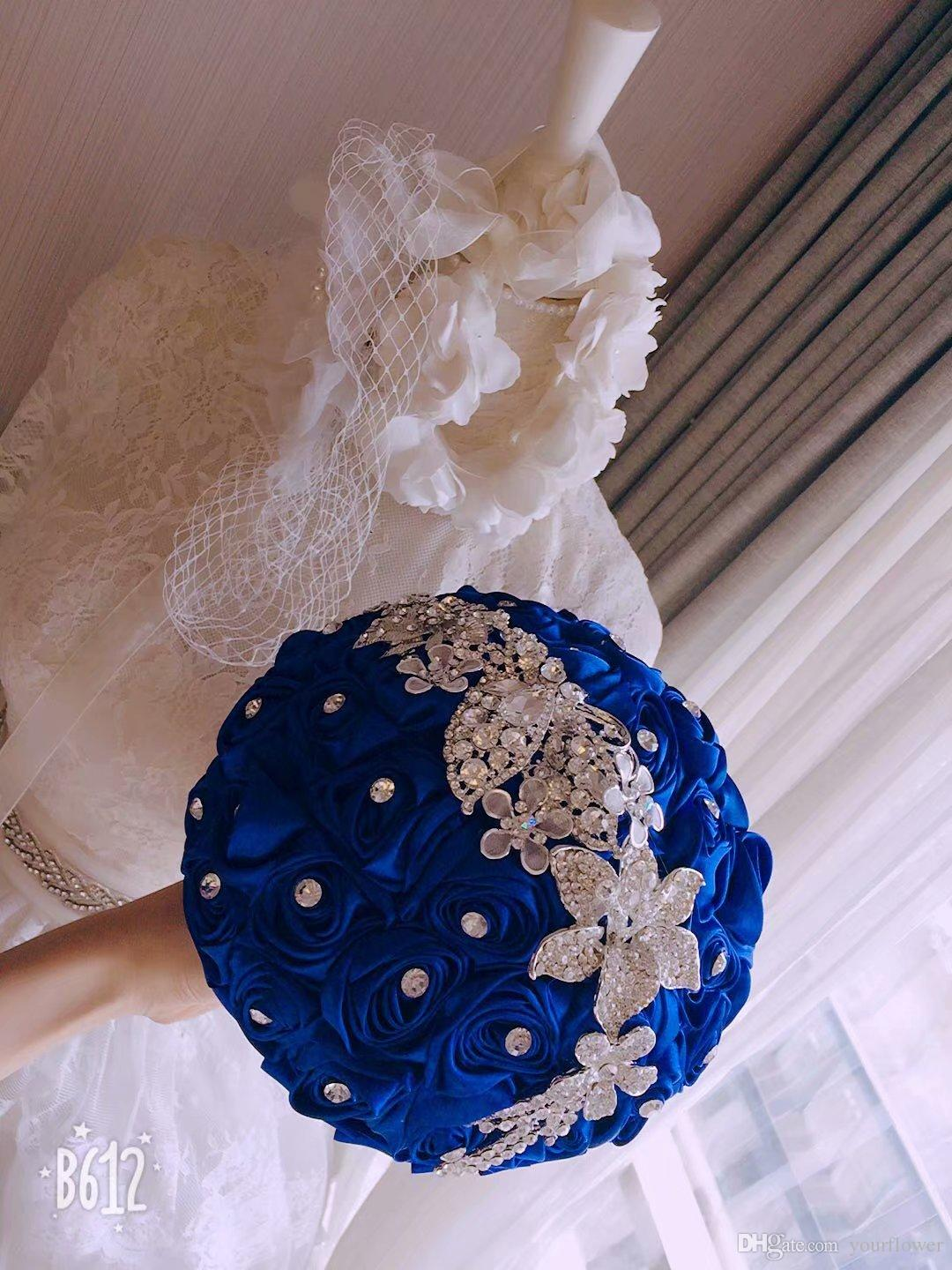 High end custom wedding supplies bridal wedding bouquets royal high end custom wedding supplies bridal wedding bouquets royal blue simulation roses with silver jewelry white pearls wedding table flowers wholesale izmirmasajfo