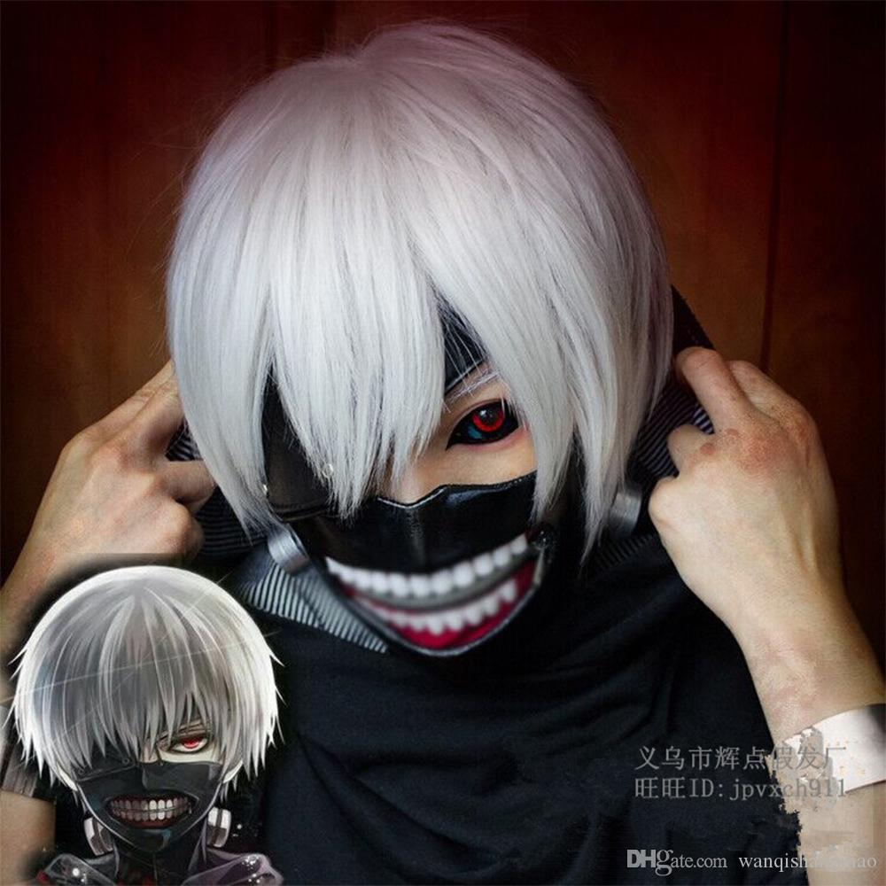 "Cartoon Tokyo Ghoul Cosplay Synthetic Heat Resistant Hair Wigs 11"" Short straight Silver-White/White Wigs for Women and Men Cartoon Fan"