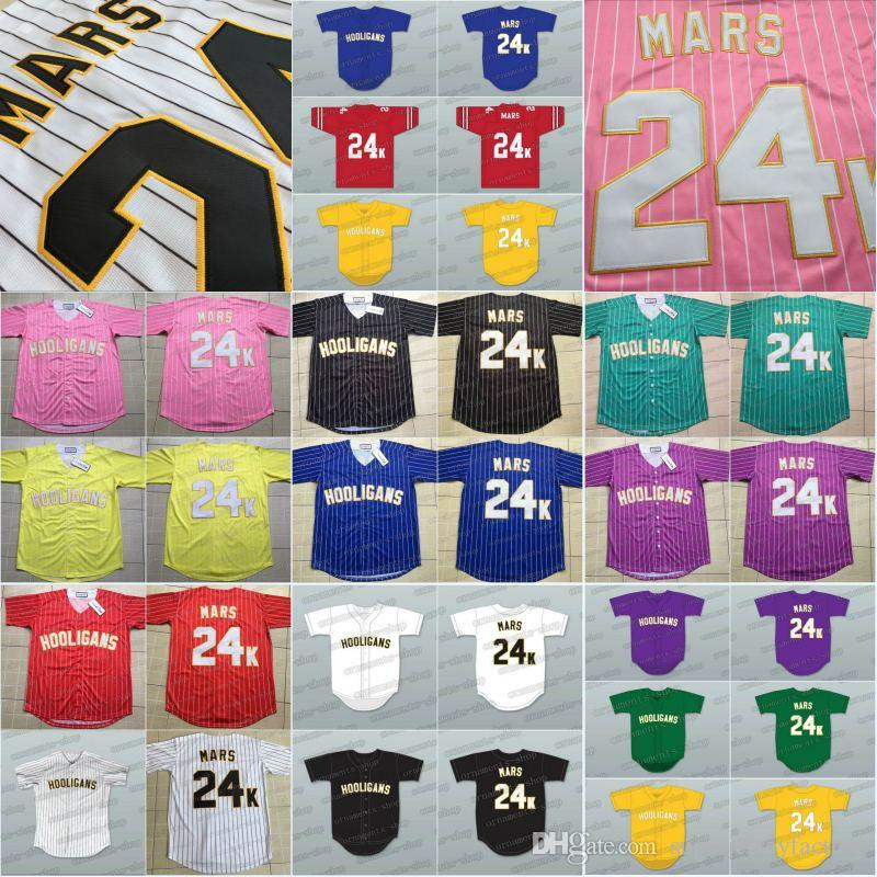2019 24K Bruno Mars Hooligans Baseball Jersey Women Youth BET Awards Black  White Red Blue High Quality Jerseys From Superjerseyfactory 6bee22fcf