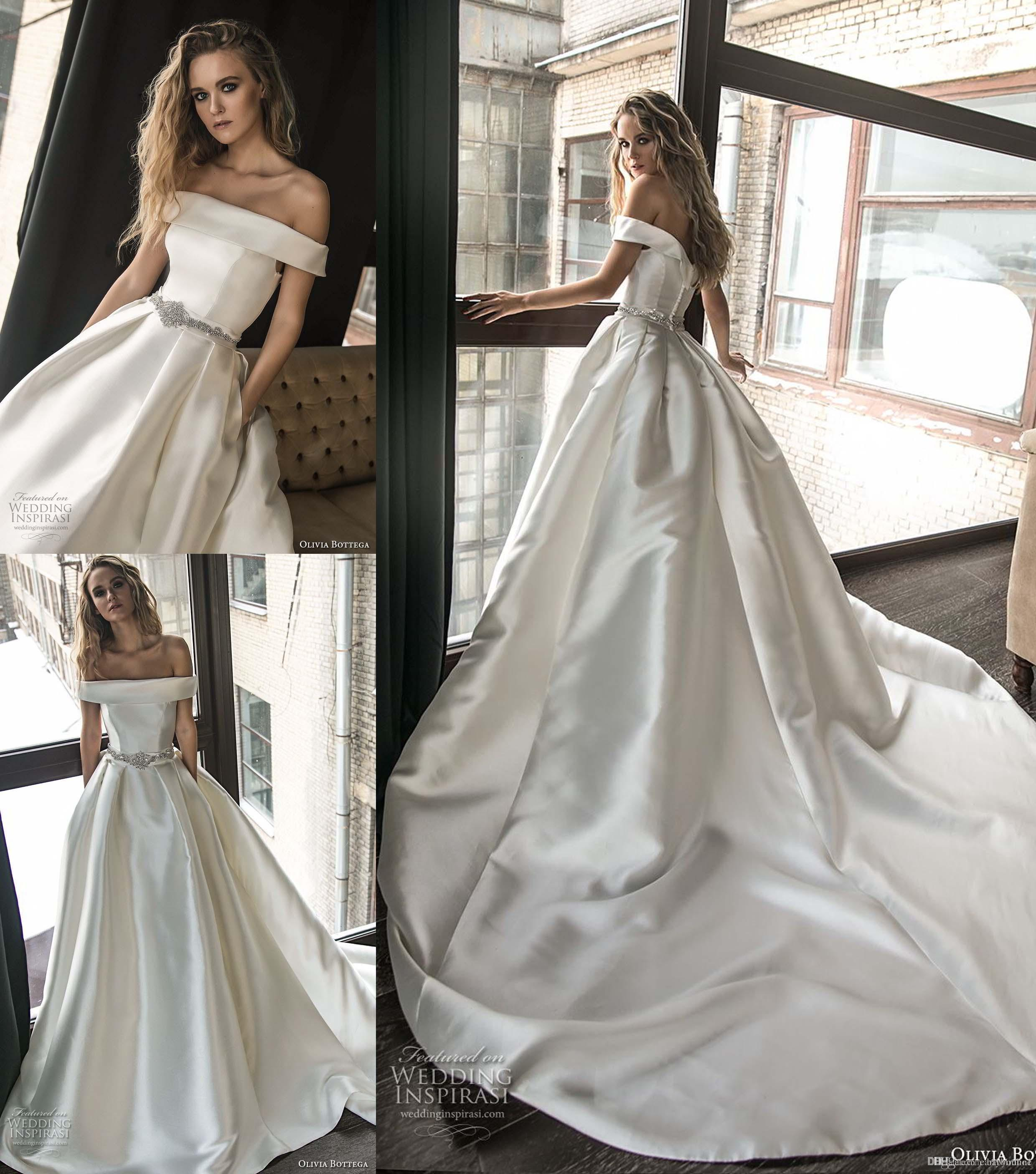 37bb4add5846 Discount Modern Satin Backless Wedding Dresses Sexy Off Shoulder A Line  Beaded Sash Chapel Train Bridal Gowns With Pockets Tea Length A Line Wedding  Dress ...