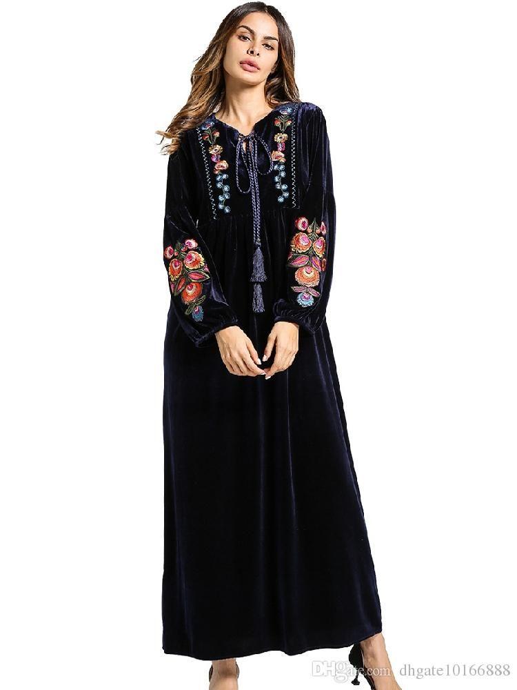 Newest Islamic Muslim long maxi Dresses for Women Arab clothing Long  sleeves Dresses Malaysia Abayas in Dubai Turkish Ladies Clothing
