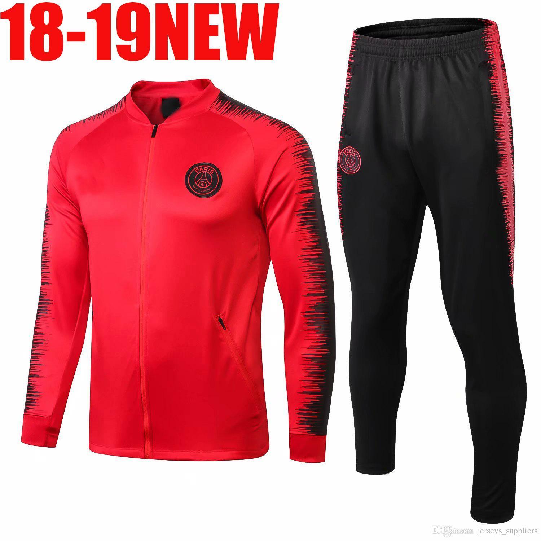430c63fee8 Compre Camisas De Futebol Do PSG Paris Saint Germain FR 18 19 Treino Fato  De Treino MBAPPE Marselha Camisa De Futebol Jaqueta 2018 2019 Conjuntos De  Kit ...