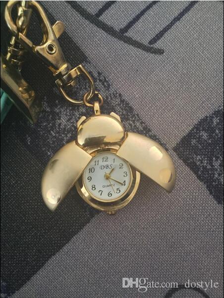 الخنفساء جيب مفتاح حلقة مصغرة قلادة ساعة ووتش الذهبي خنفساء سيدة علة حقيبة الهاتفي الكوارتز التناظرية جيب الساعات أجنحة الذهب كليب رئيس جراد البحر