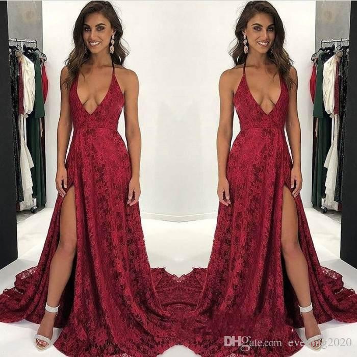 9b48006e23 2018 Deep V Neck Charming Evening Dresses Dark Red Sleeveless Side Split  Appliques Simple Design Sexy Prom Dresses Dresses For Women Sexy Dresses  From ...