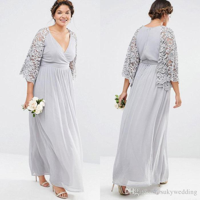 3b34823f197 Silver Chiffon Lace Mother Of The Bride Dresses V Neck A Line Lace ...