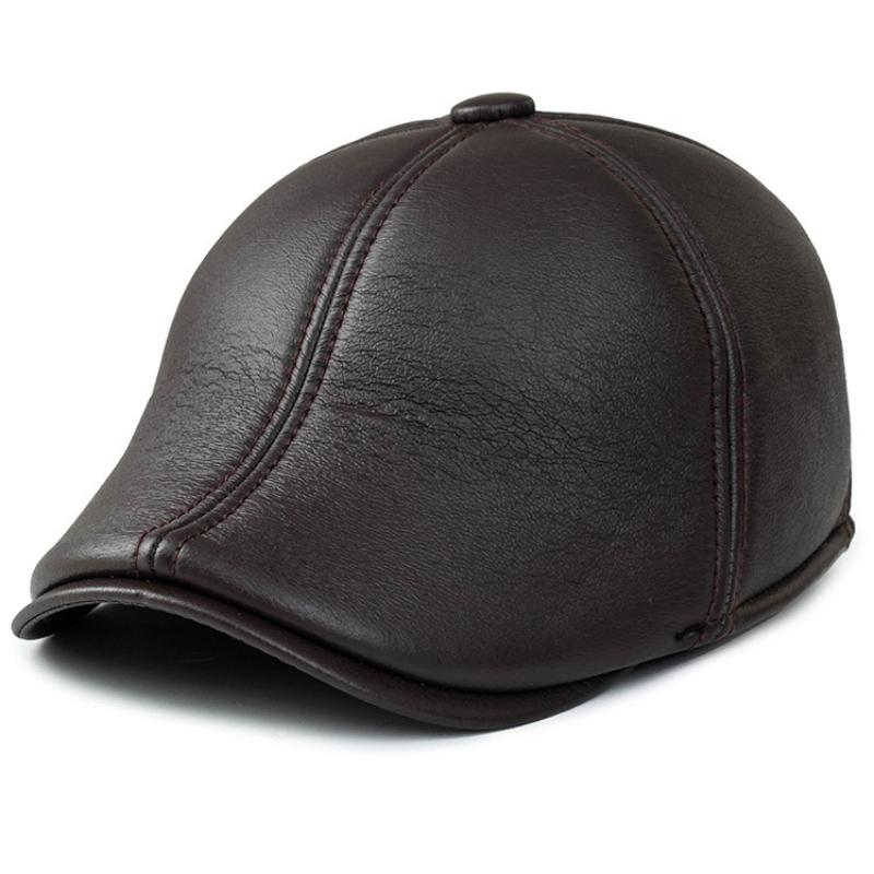 2019 HT1398 Fashion Men Beret Caps Solid Black Brown Leather Winter Hats  With Ear Flap Warm Gastby Newsboy Ivy Caps Western Beret Hat From Haydene 0fdd583101ac