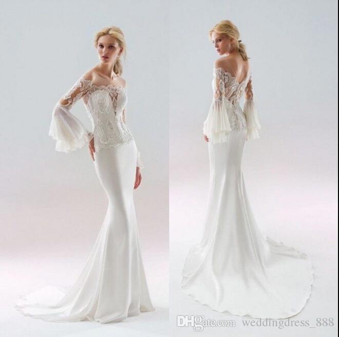 Off Shoulder Mermaid Wedding Dresses Long Sleeve Scoop Neck Applique ...