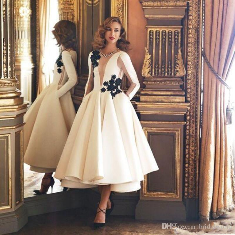 Muslim Evening Dresses 2018 Ball Gown Ivory Satin Lace Black Long Sleeve Tea  Length Islamic Dubai Kaftan Saudi Arabic Long Evening Gown Evening Dresses  ... ff4357f2f8d5
