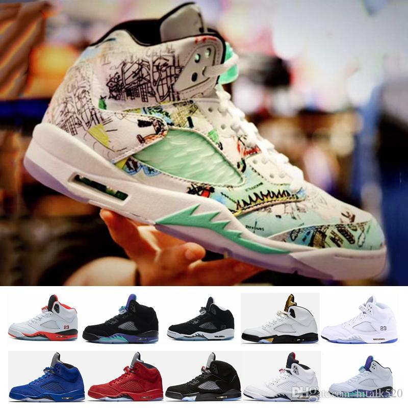 42ea3413f8ecb5 New 5 5s V Wings Graffiti Olympic Gold White Cement Mens Basketball Shoes  OG Black Metallic Fire Red Retro Blue Suede Sport Sneakers Sneakers For  Women ...