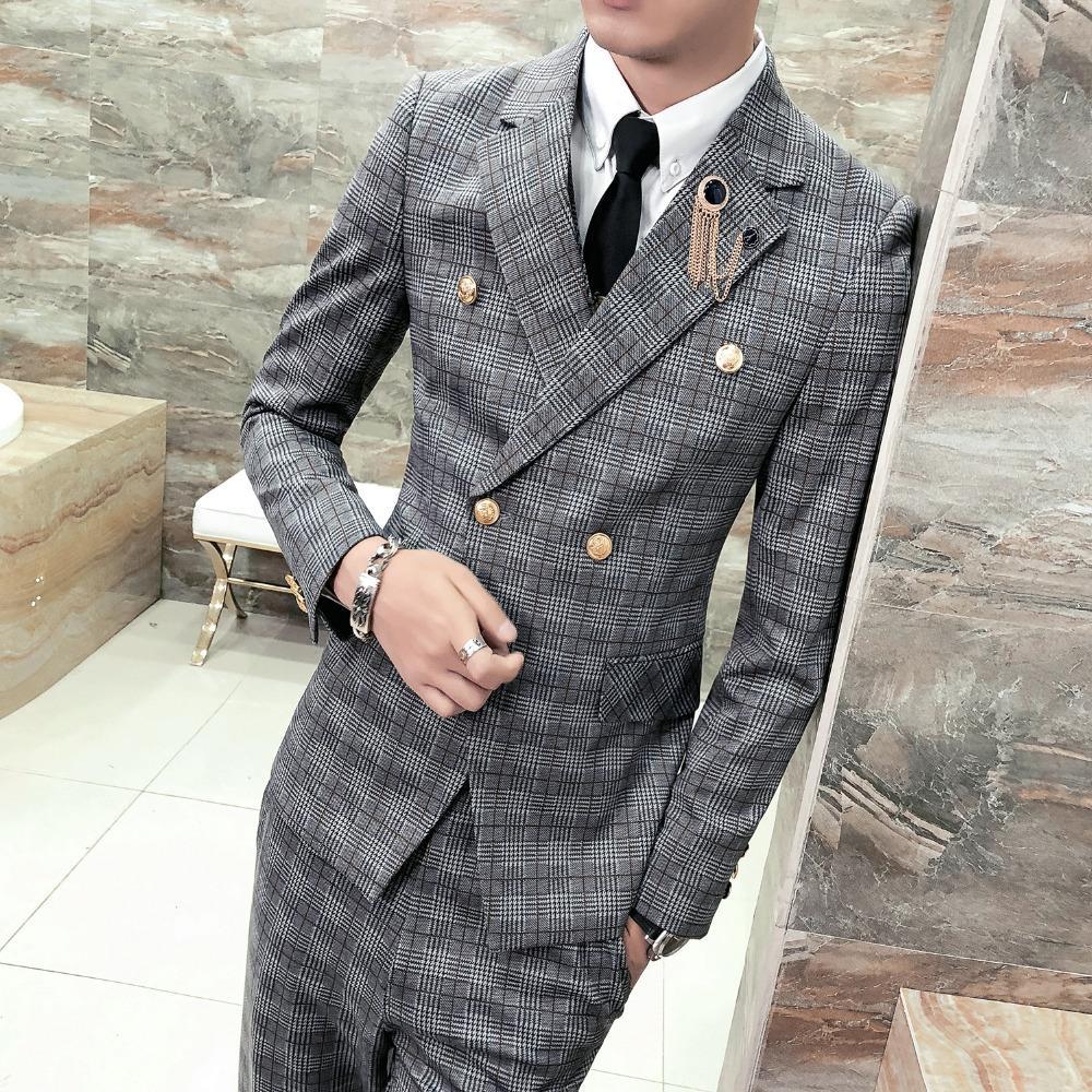 size 40 e3204 9632f Stile britannico Blazer classico Plaid Slim Fit giacca sportiva uomo manica  lunga doppio petto abito vestito cappotto vestiti 2018