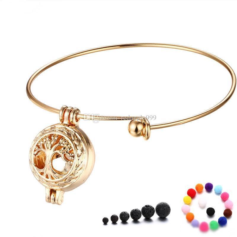Brazalete del medallón del difusor del aceite esencial y del perfume del árbol de la vida del oro, brazalete del medallón del encanto de Aromatherapy con la piedra de la lava y la bola del algodón