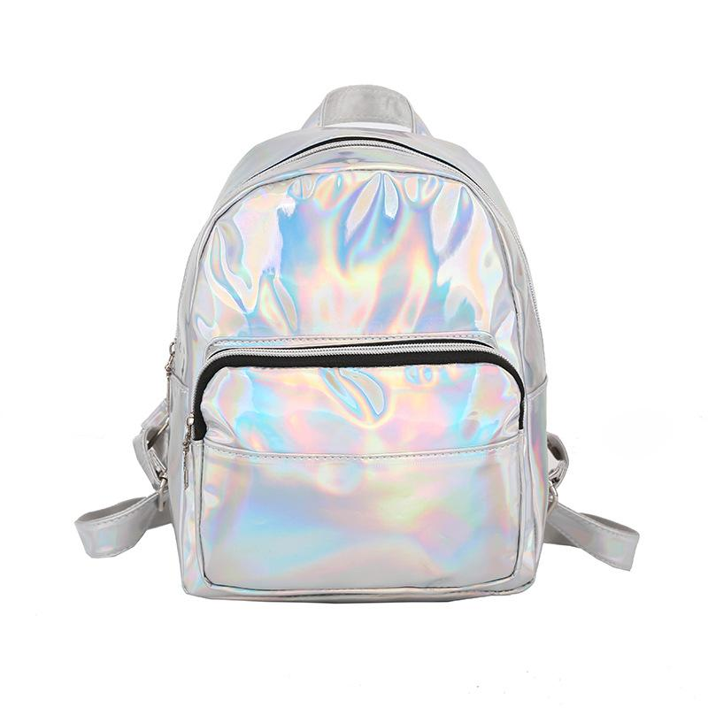 419e6ed95d3c Women Preppy Style School Shiny Laser Mini Travel Student Cute Ladies  Leather Backpacks Silver Small Holographic Backpack Jansport Big Student  Backpack ...