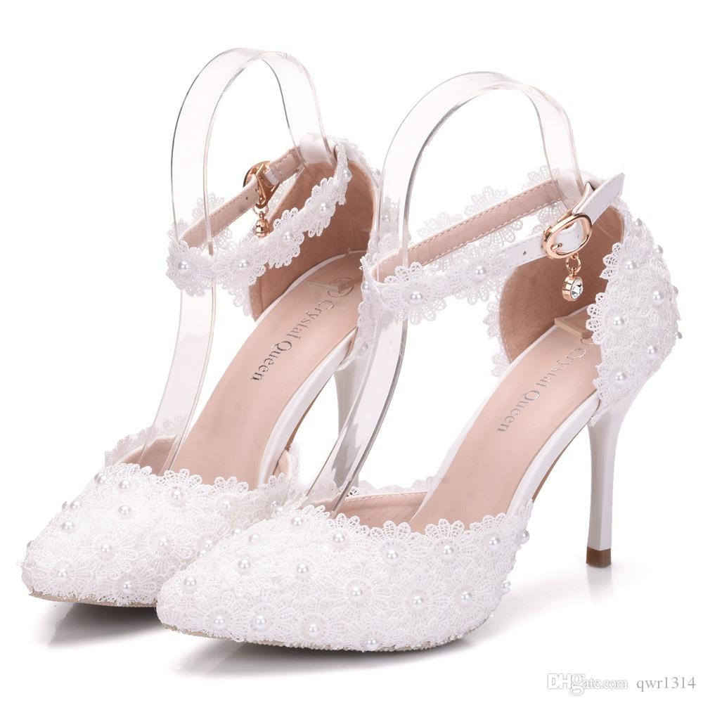 New Fashion elegant pointed toe shoes for women White lace high heel wedding shoes thick heels Beautiful pearls Plus Size Shoes