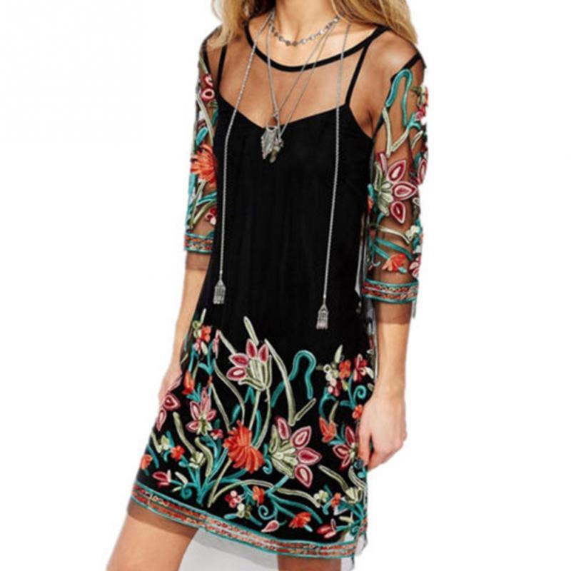 f70836d011b2e Satın Al Boho Moda Baskı Elbise Vintage Çiçekli Nakış Dantel Örgü Elbiseler  Casual O Boyun Kadınlar Parti Uzun Elbiseler See Through, $26.8 |  DHgate.Com'da