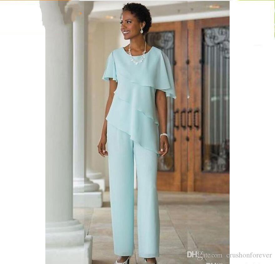 2018 New Mother of the Bride Dresses Pants Suits Wedding Guest Dress Silk Chiffon Short Sleeve Tiered Mother of Bride Pant Suits Custom Mad