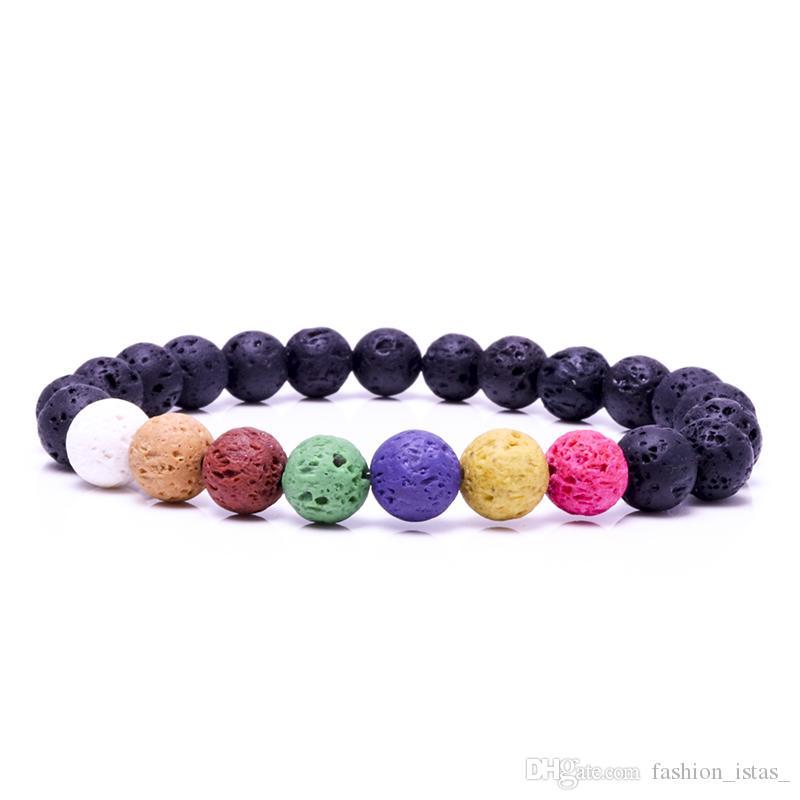 7 цвет 8 мм натуральный камень черный Лава рок браслет эфирное масло духи диффузор браслет