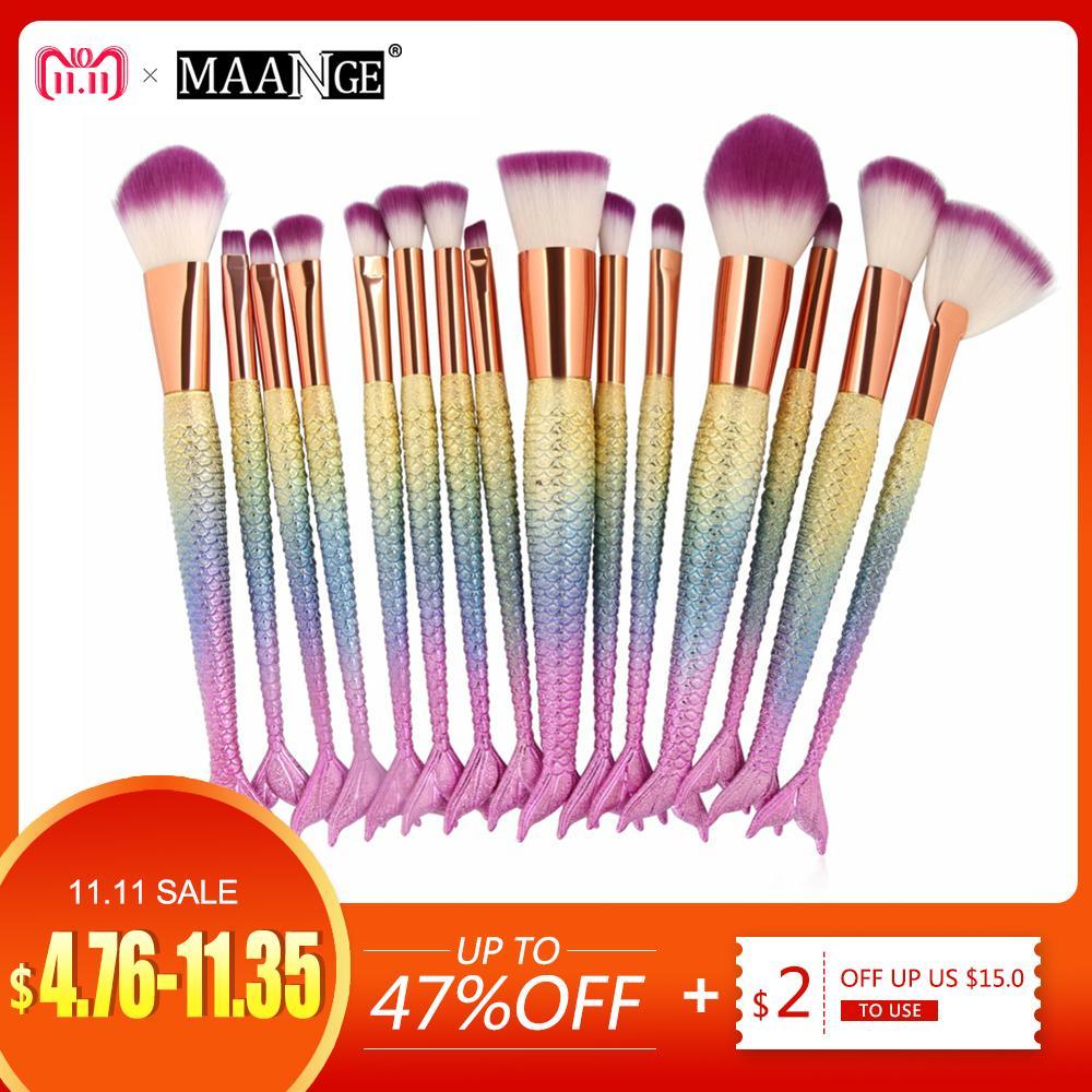 6c356401c454 1-16PCS Big Mermaid Makeup Brushes Set Foundation Blending Powder Eyeshadow  Contour Concealer Blush Cosmetic Beauty Make Up Tool D18110902