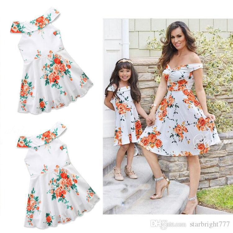 02c79cc52816 2018 Mother And Daughter Clothes Women Flower Strapless Dress Parent Child  Matching Outfit Baby Girls Pink Flower Dresses Princess Dress Mother  Daughter ...