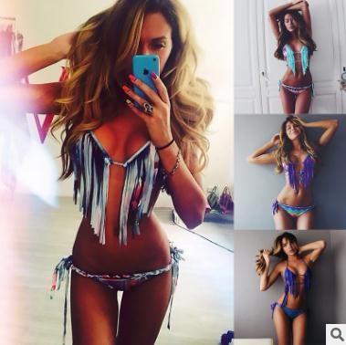 2525343ed1a3e 2019 2018 New Women Beach Bikini Fringes Color Bikini Bohemian Print ...
