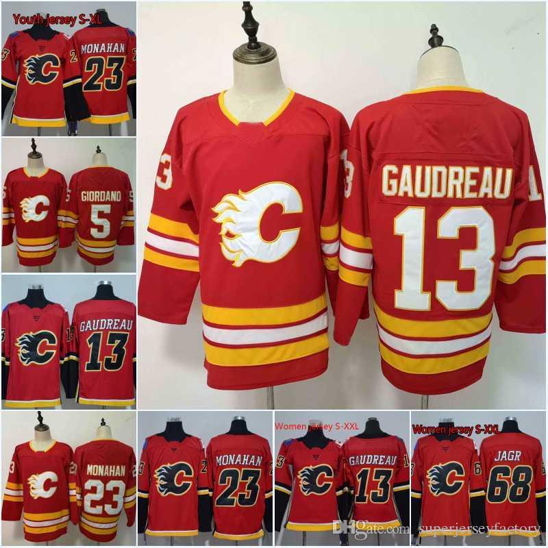 Men 13 Johnny Gaudreau Jersey 2018 Calgary Flames 68 Jaromir Jagr 23 ... 0d92018b5