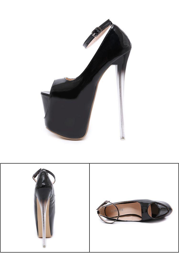 18cm Super high heel black patent PU leather platform ankel strappy peep toe pumps women designer shoes size 35 to 40