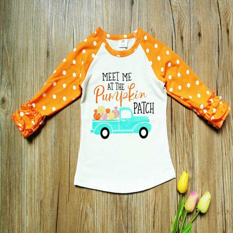332c734055f New Halloween Baby Girls T-shirt Toddler Ruffle Dot Sleeves Letter ...