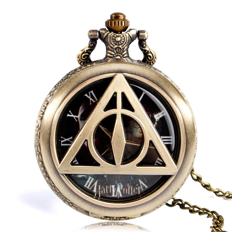Bronze The Deathly Hallows Lord Voldemort Quartz Men Women Pocket Watch Retro Copper Half Hunter Analog Hot Movie Watches Gift