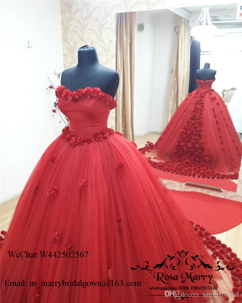 Red Ball Gown Sweet 16 Quinceanera Dresses 2020 3D Hand Made Flowers Plus Size Princess Vestidos 15 Anos Tulle Cheap Masquerade Prom Gowns