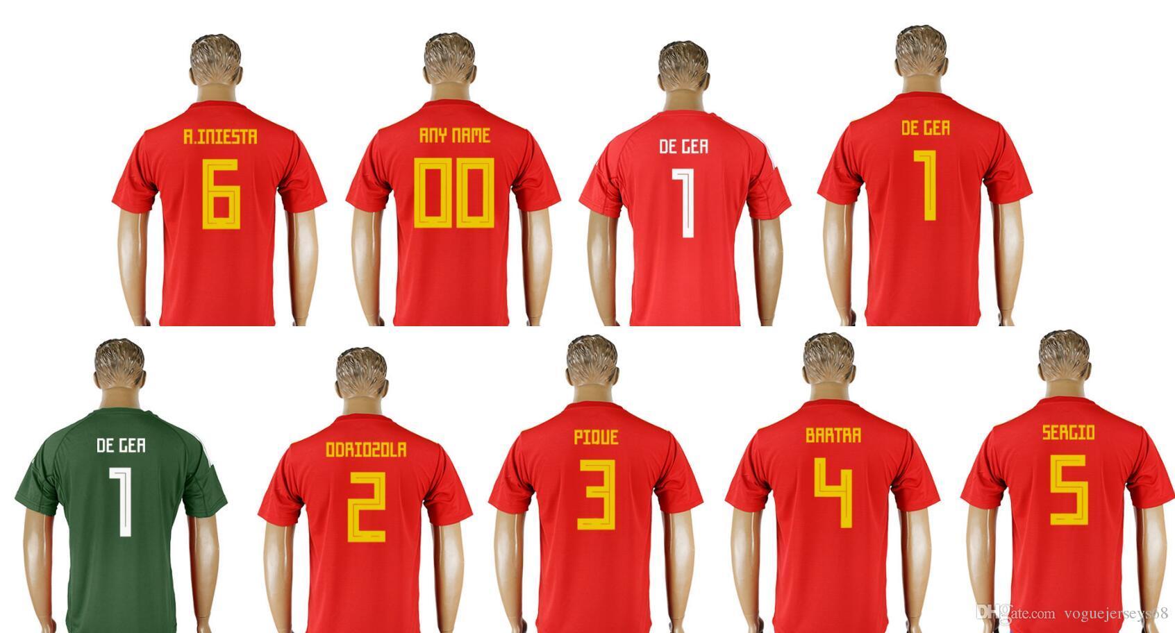 new product 03831 8fadf Spain New 2018 Mens #1 David de Gea #6 Andres Iniesta 5 Sergi Busquets 4  Marc Bartra Uniforms Shirts Sports Team Soccer Jerseys