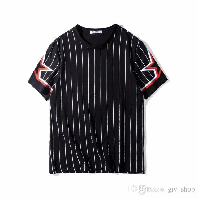 7d1b4fb84dffd7 2018 High Quality Tops Brand T Shirt Fashion Black White Stripes Five Star  Embroidery Men Short Sleeve T Shirt Hip Hop Unisex Casual Tee One Day T  Shirt ...