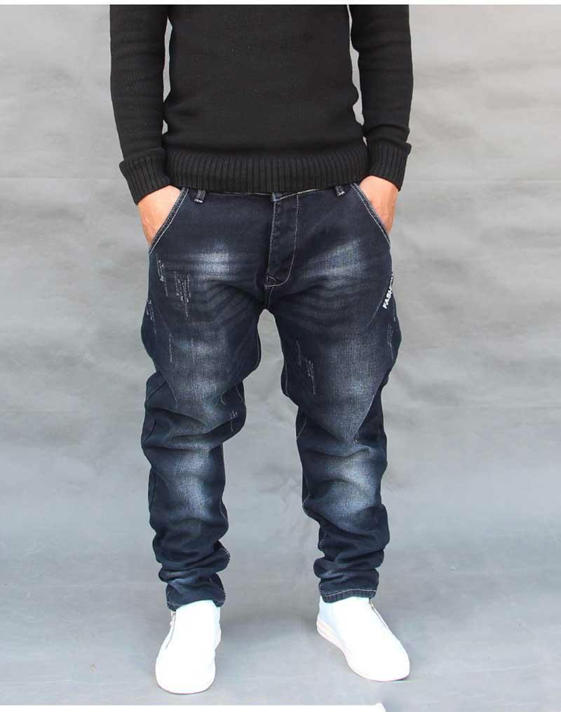 af18fb021d0 Fashion Hip Hop Harem Jeans Mens Jogger Pants Jeans Long Stretch ...