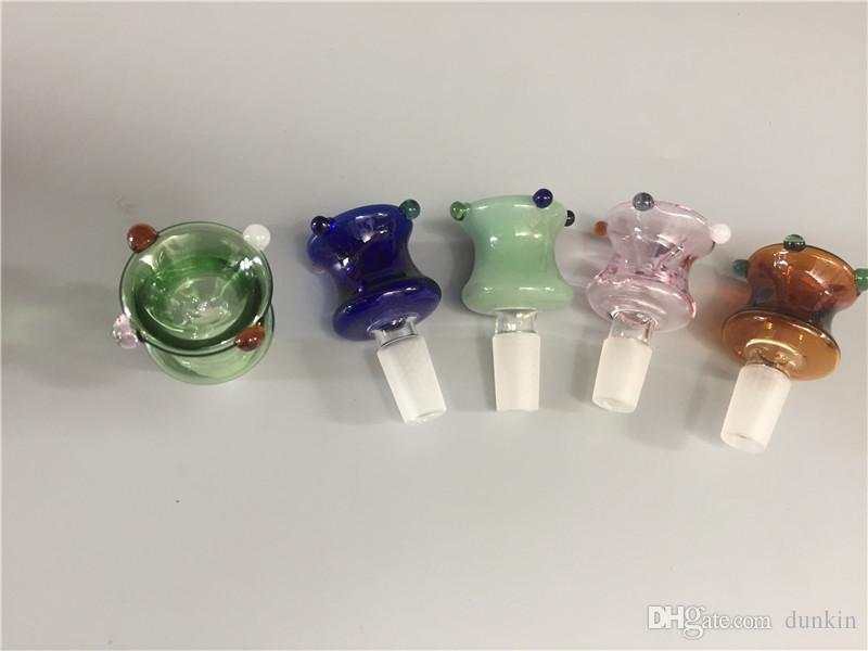 Оптовая 14 мм 18 мм Стеклянная Чаша для Bong Pipe Красочные Чаша Кусок Слайд Совместное Курительные принадлежности мужской чаши для Bubbler