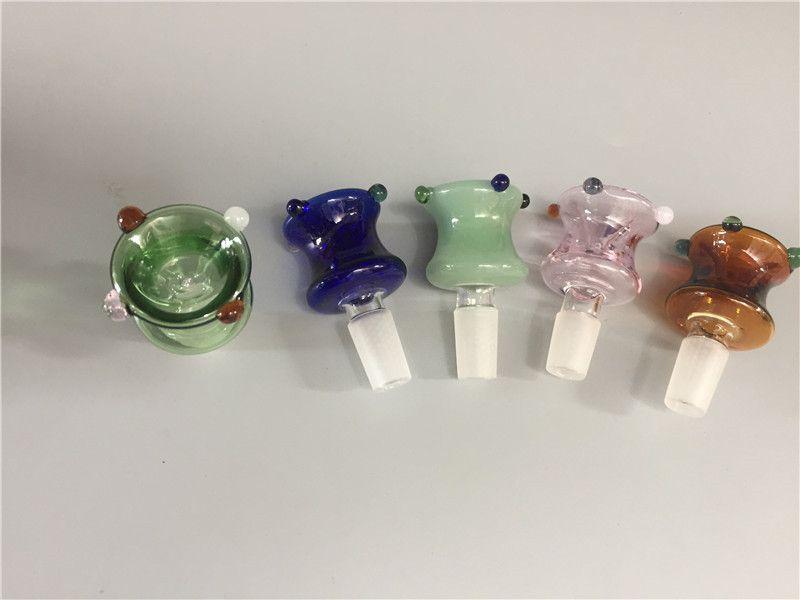 Commercio all'ingrosso 14mm 18mm Ciotola di vetro Bong Pipe Colorful Bowl Piece Slide Joint Accessori fumatori ciotola maschio Bubbler