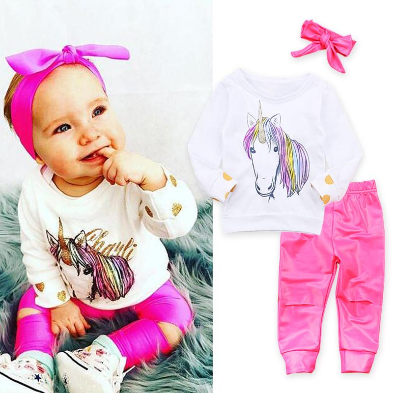 29a76ff11567 Christmas Newborn Baby Girl Long Sleeve Clothes Unicorn Print T-shirt  Tops+Broken Hole Pants+Headbands Outfit 0-2T Baby Clothing Y18100905