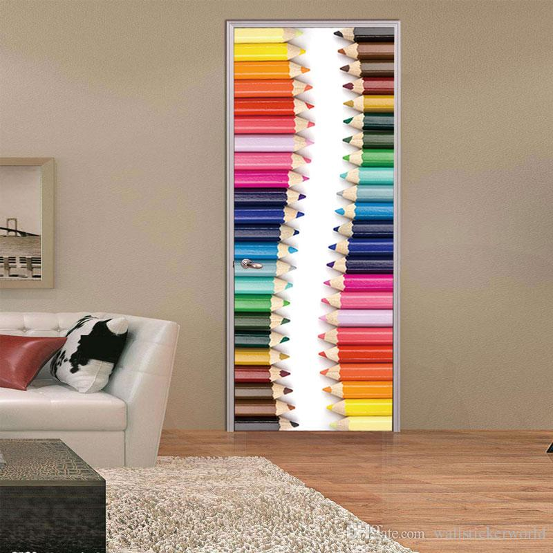3D Pencil Waistline Skirting Wall Sticker Mural Quotes Bedroom Art Background Self-adhesive Door Stickers Home Decor