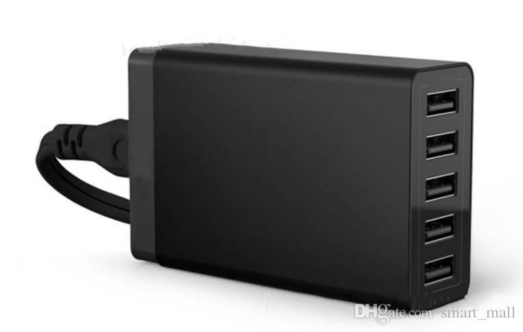 5 USB-Schnellladegerät Multi-Port-Laden Schnellladen 5V 8A US EU UK-Stecker für Samsung iPhone Pad mit Kleinpaket LLFA