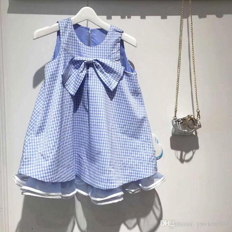 Top Quality Fashion Summer Children Sleeveless Blue Striped Plaid Bow Dress Pure Cotton Fashion Child Uniform Dresses Girls Kids