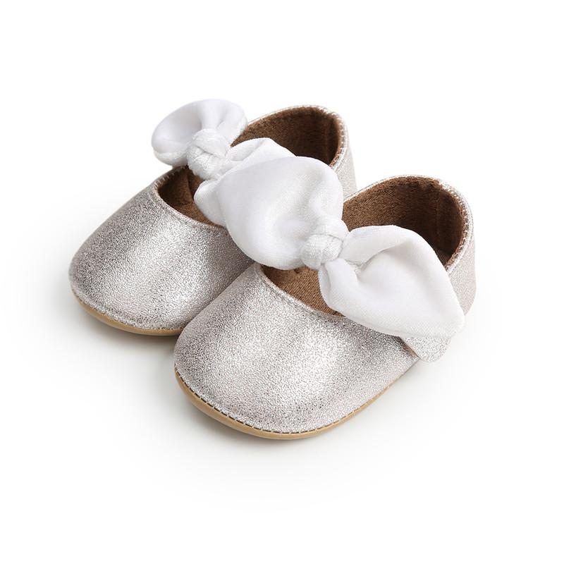475210974353e Silver Newborn Baby Shoes Anti-slip First Walkers PU Leather Baby Girl  Moccasins Infant Toddler Girl Bow-knot Princess Shoes.