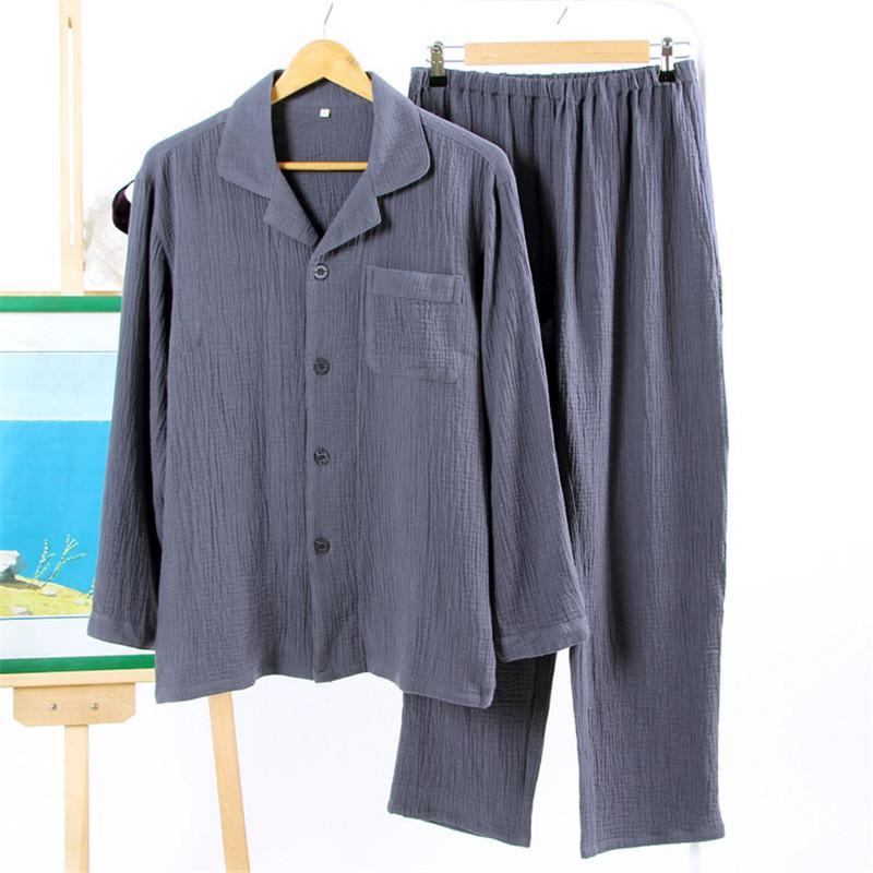 2017 100% cotton crepe Mens pajamas sets Spring Simple long-sleeve sleepwear for male pijamas para homens hombre pyjamas mens