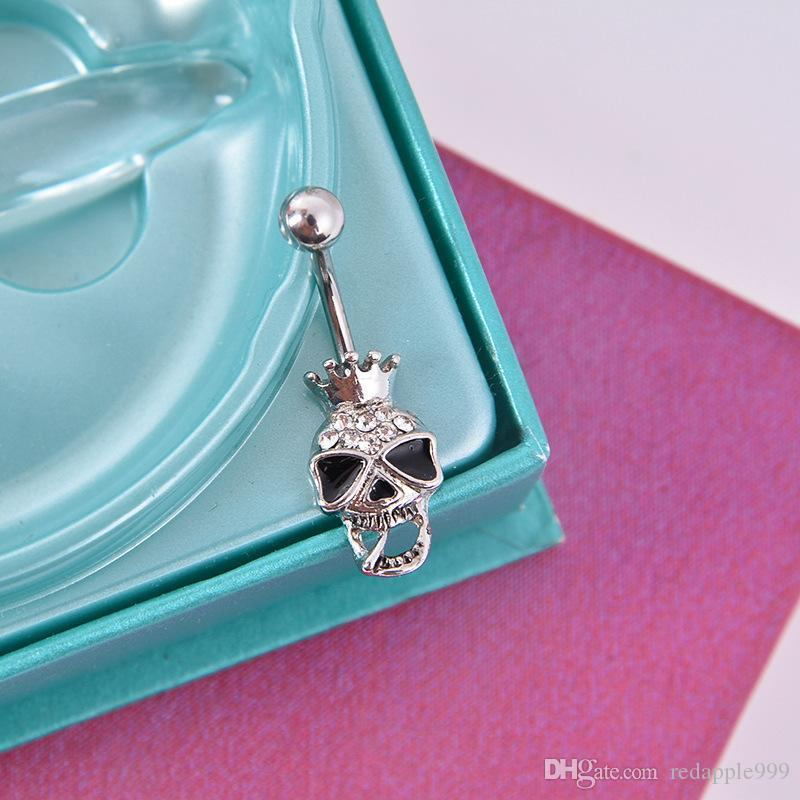316L Surgical Steel Enchanted Crown Skull Navel Ring Clear Rhinestone Crystal Navel Bars / Belly Button Ring