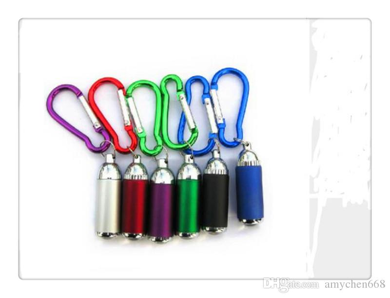lights gifts LED Mini Flashlight Aluminum Alloy Torch with Carabiner Ring Keyrings Key Chain mini LED Flashlight