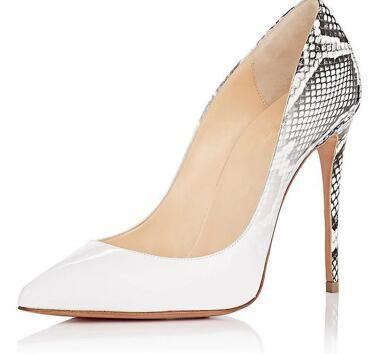 2018 Faux Snake in pelle con tacco alto scarpe sexy punta a punta tacchi sottili scarpe donna Kim Kardashian stile donne pompe