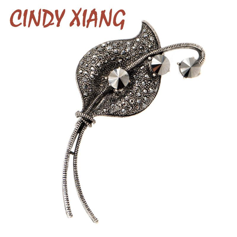 6110675b92fc7 CINDY XIANG Rhinestone Vintage Leaf Brooches for Women Black Color ...