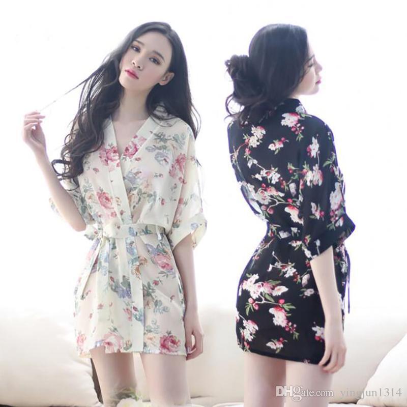 c61e28efdf Fashion Women S Sleep   Lounge Hot Women Floral Robes Sexy Intimates  Bathrobe Kimono Uniforms For Lady Mens Fleece Pyjamas Nightwear Ladies From  Yingjun1314 ...