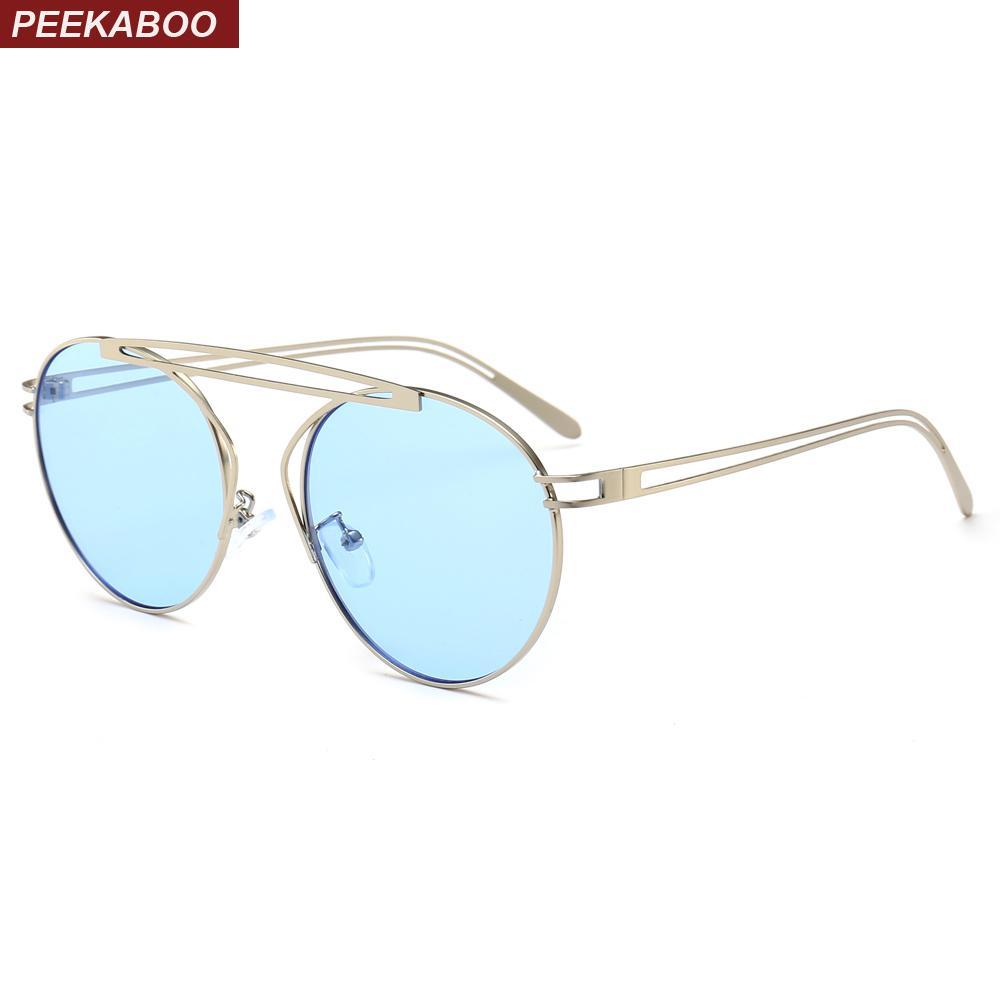 c7a3787cf7 Compre Peekaboo Vintage Gafas De Sol Redondas Mujeres Azul Verano 2019 Tapa  Plana Gafas De Sol Retro Para Hombres Espejo Marco Metálico Uv400 Amarillo  A ...