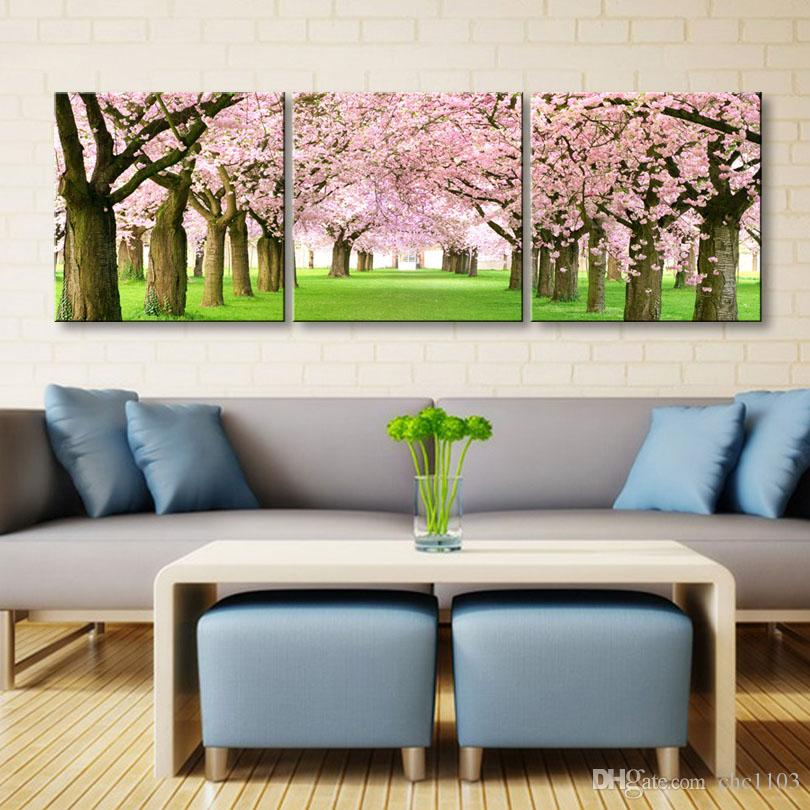 high-definition print Cherry blossoms canvas oil painting poster and wall art living room picture YF3-001