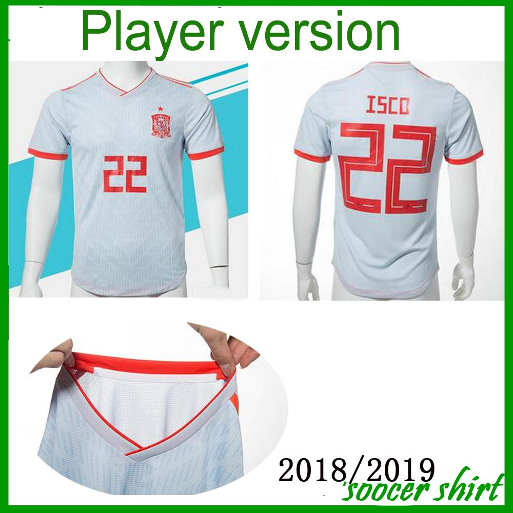 8730b57b0 on target morata  player version 2018 world cup spain away soccer jersey  spain soccer shirt 7 morata 22 isco