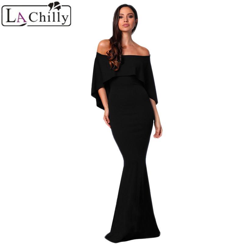 fcc95a826558 Compre La Chilly Roupas Femininas 2018 Sexy Verão Apertado Vestido Borgonha  Fora Do Ombro Poncho Vestido De Sereia Vestido De Festa Longo Vestidos  LC610235 ...