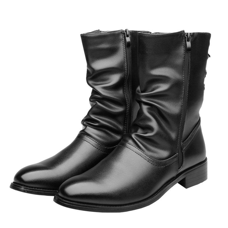 f3c8058b6b7 Men's Boots Men Desert Boot Mid-Calf Genuine Leather Boots Men's Zipper Men  Winter Shoes Round Toe Motorcycle Boots' Army Black